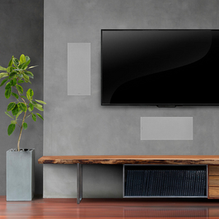 Living Room Ideas With Klipshce In Wall Speaker And Subwoofer