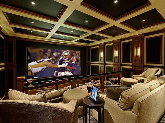 Home Theater Ideas With coffered ceiling