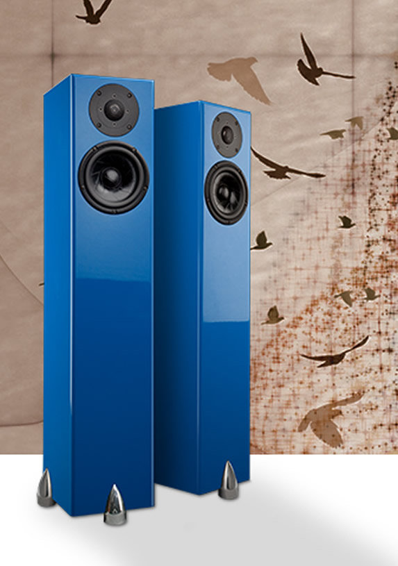 Totem Forest Design Sky Tower Speakers In Blue 1 Pair Hidef Nj