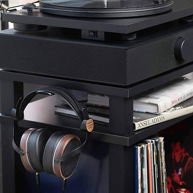 Black Rack For Turntables With Speakers.