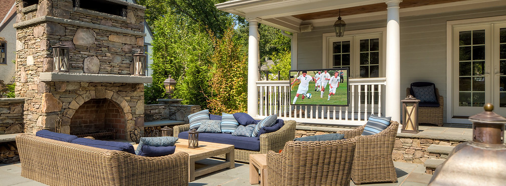 Outdoor TV with Outdoor speakers and subwoofer system