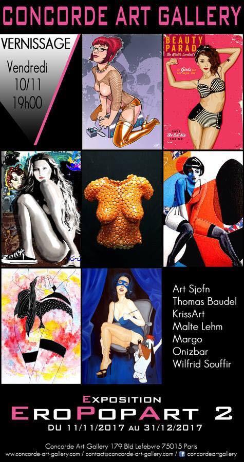 dans le cadre d'une exposition collective sur le thème Pin-up/Pop-Art, mes œuvres seront exposées du 10/11/17 au 31/12/17 à Concorde Art Gallery. Je serai heureuse de vous rencontrer lors du vernissage qui débutera à 19h00 le vendredi 10 novembre...
