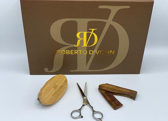 Barber Shears, Wooden Comb, & Boar Bristle Brush Beard Set