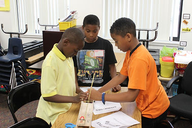 Students building STEM projects