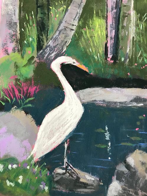 Egret at Sunken Gardens, Circa 2020. Pastel