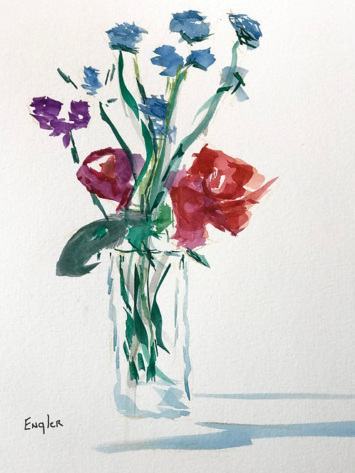 Stems and Flowers, Watercolor