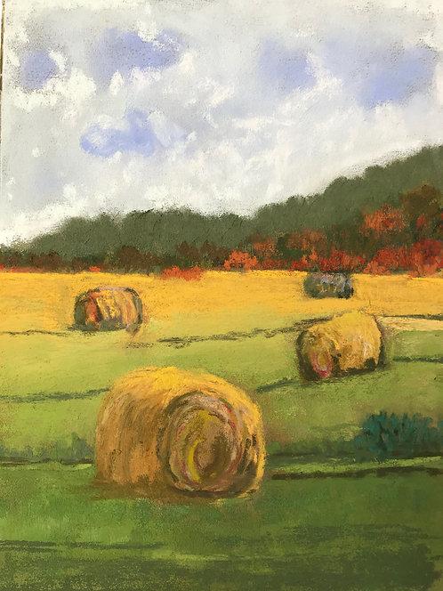 Moving Hay, Pastel