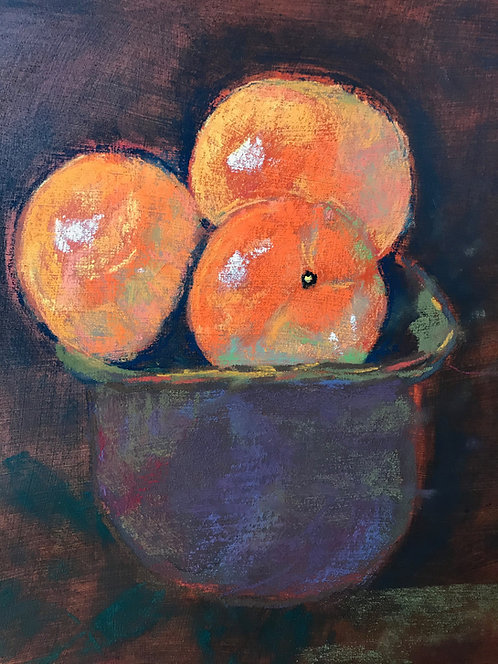 Oranges On A Wooden Table, Pastel