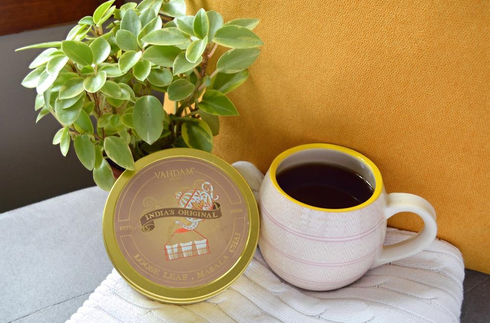 Vahdam Chia tea, a plant and a mug.