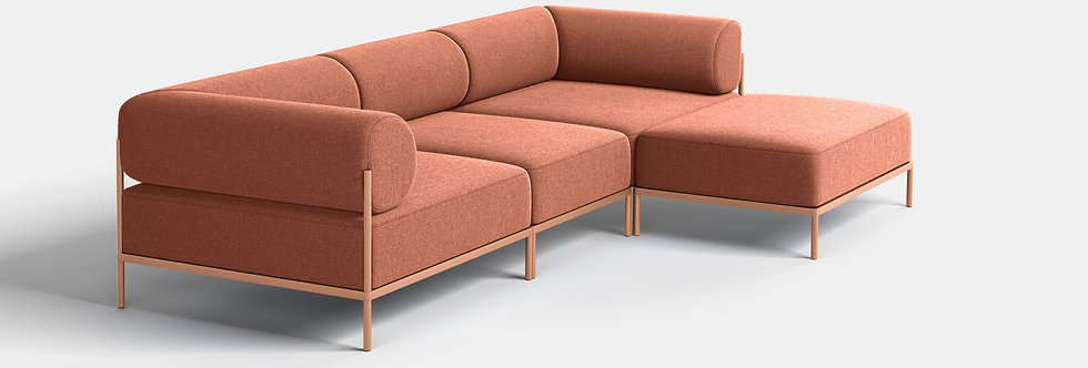Noah Living | Noah 3 seater with chaise with beige red frame