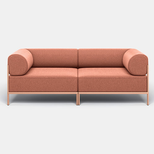 Noah Living | 2 seater with beige red frame