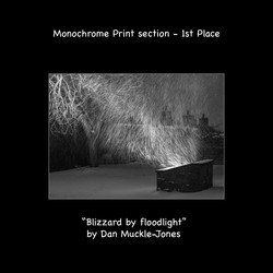 Blizzard by floodlight with text