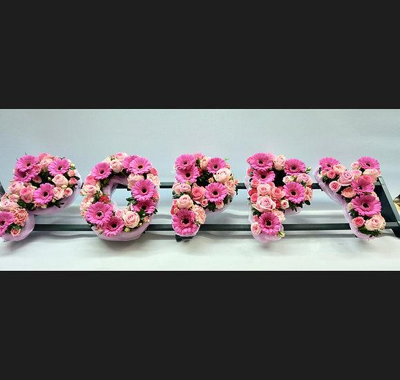 Personalised 'Lettering' Tribute with loose, seasonal flowers