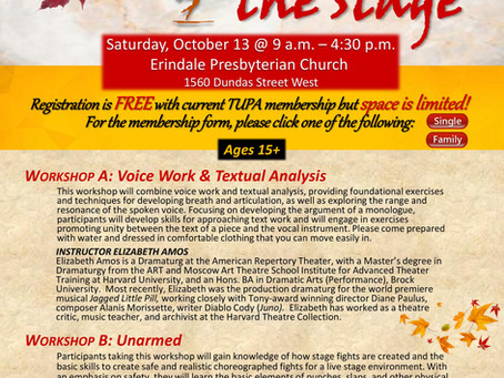 Register Now for the TUPA Beyond the Stage Fall Workshop!