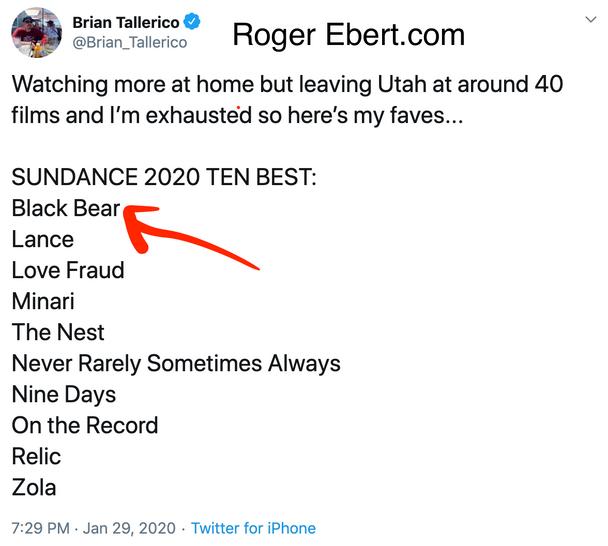 Brian Tallerico Top 10 of Sundance (Roger Ebert.com)