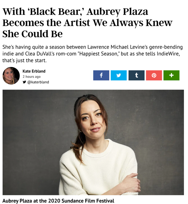 Aubrey 'Black Bear' feature in Indiewire