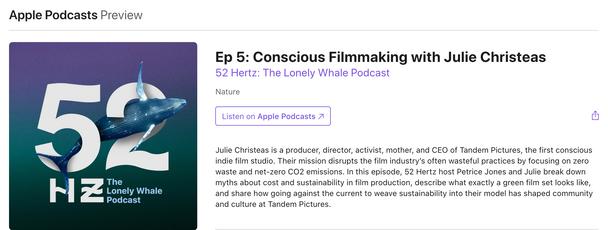 Tandem Pics' CEO Julie Christeas on 52 Hz Podcast