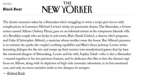 The New Yorker - Black Bear Review