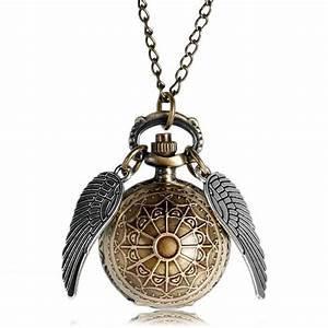 Golden Snitch Quartz Vintage Pocket Watch Ball Pendant Necklace