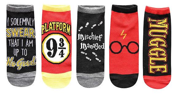 Harry Potter Solemnly Swear Muggle Platform 9 3/4 5 Pack Ankle Socks