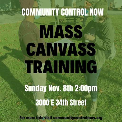 Community Control Now: Mass Canvass Training