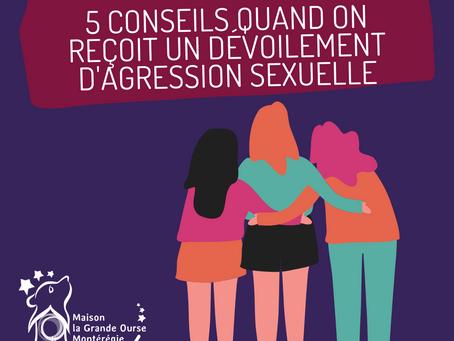 5 conseils quand on reçoit un dévoilement d'agression sexuelle