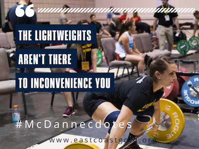 18 Oct McDanecdote Monday: The light weights aren't there to inconvenience you