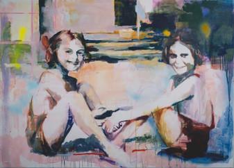 Simona Mihaela Stoia, Harmles II, acryl en spray op doek, 100 x 140