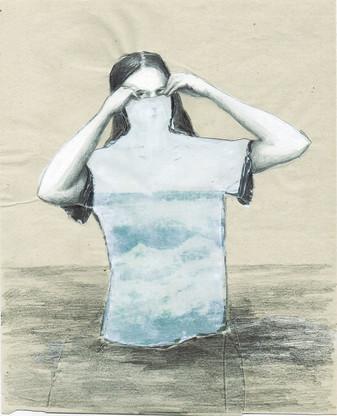 Sassafras De Bruyn, Zeetrui, acryl, potlood en collage, 21 x 25,5