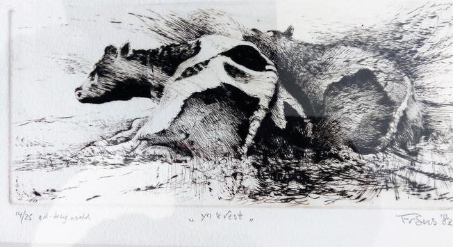 "Frans Faber, Yn'erest, (Fries voor ""rustend""), droge naald, 9 x 17 cm"