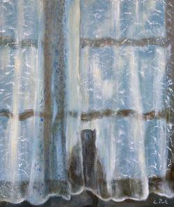 Christiane Pinte, Verborgen kat, acryl op doek, 60 x 50