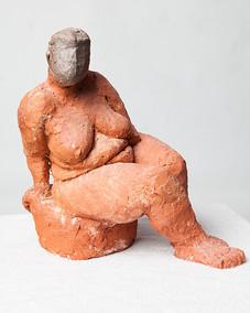 Michel Lyssens, z.t., gebakken klei, 30x30