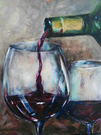 Fiona O'Farrell, Winetime, olie op canvas, 50  x 60 cm