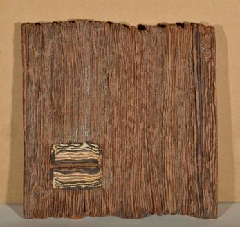 Jacqueline Leyman, steengoed wandplaat, 33 x 33 cm