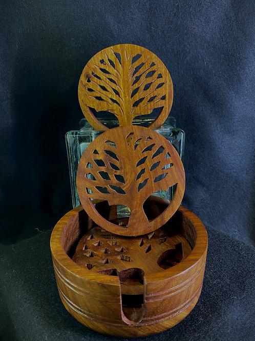 Tree of Life Wood Coaster Set
