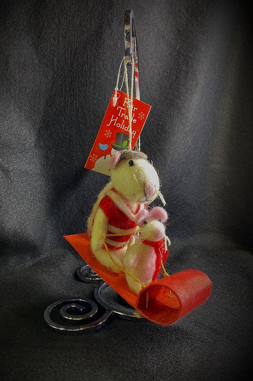 Mice Sledding Ornament