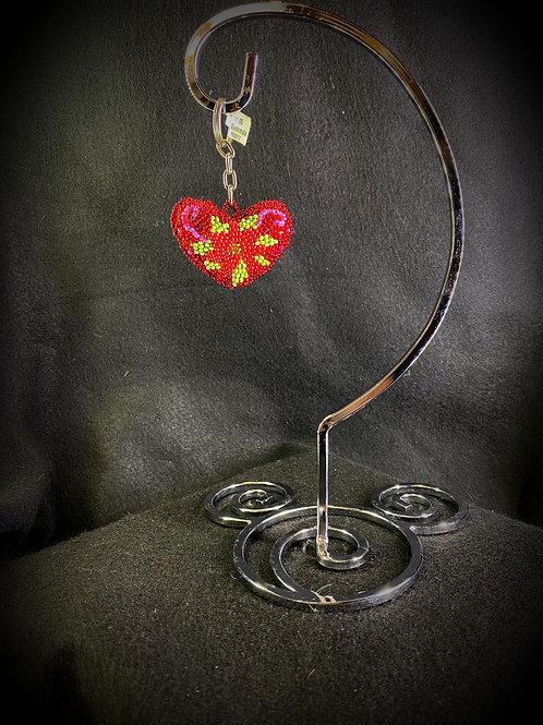 Beaded Heart Keychain