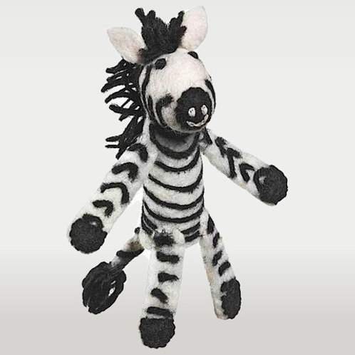 Woolie Zebra Finger Pupet