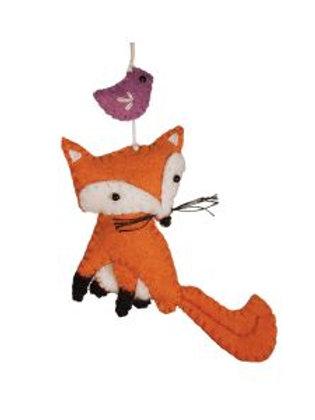 Fox and Bird Ornament