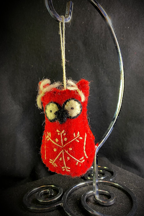 Cardinal with snowflake ornament