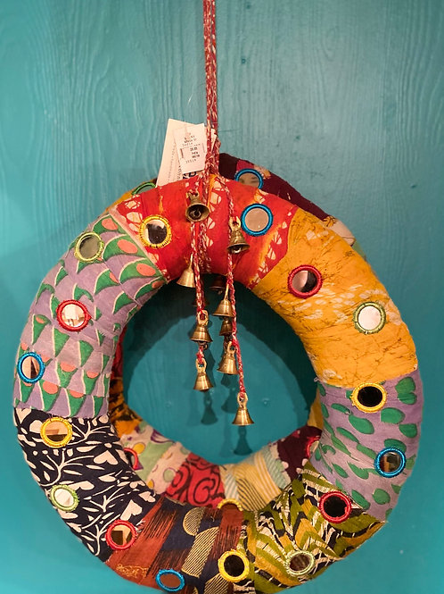 Recycled Sari Wreath with bells