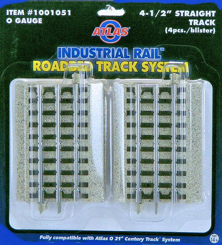 "(O) Industrial Rail 4-1/2"" Straight Track 4/Pk"
