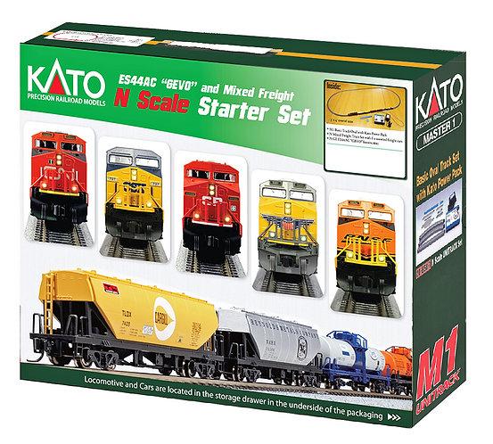"(N) KATO GE ES44AC ""GEVO"" & Mixed Freight Starter Set"