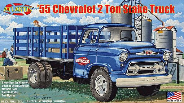 (O) 1:48 Scxale Plastic Model Kit - 1955 Chevrolet 2 Ton Stake Truck