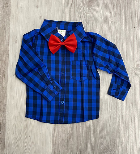 Youth Blue Flannel and Bow Tie Set