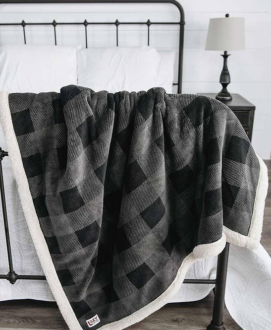 Grey Plaid Plush Sherpa Lined Blanket