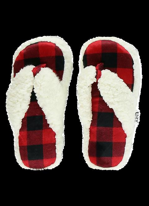 Plush Buffalo Plaid Spa Slippers