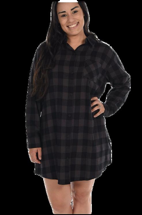 Grey Check Flannel Night Shirt
