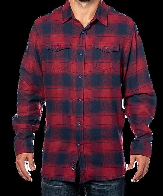 Crimson/Navy Unisex Plaid Flannel