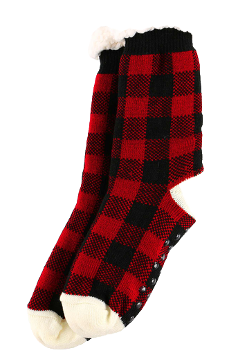 Red and Black Flannel Plush Socks